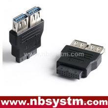 Adaptador USB 3.0, placa-mãe de 20 pinos para USB 3.0, 20 pinos para 2 portas USB 3.0