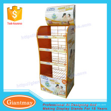 metal basket baby diaper display stand for supermarket