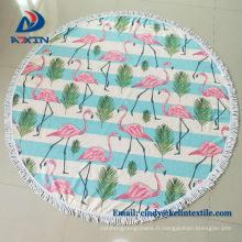 Serviette ronde de plage de 1500mm avec des glands, serviette de plage imprimée de coton de 100 / serviette turque avec la frange de gland