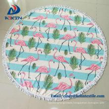 1500mm Round Beach Towel with Tassels, 100 Cotton Printed Beach Towel /Turkish towel with tassel fringe