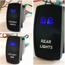 Luces de color dobles del LED Interruptor de eje de balancín marino del coche del ABS