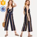 Разноцветные V-образным вырезом Сторона галстук полосатый комбинезон ОЕМ/ODM Производство Оптовая продажа женской одежды (TA7019J)