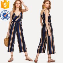 Mehrfarbige V-Ausschnitt-Bindungs-Seitenstreifen-Overall Soem / ODM-Herstellungs-Großhandelsart- und weisefrauen-Kleid (TA7019J)