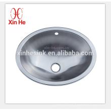 Fregadero de baño de acero inoxidable con recipiente redondo y ovalado, lavabos para el baño, lavabo del recipiente