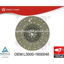 Original Yuchai engine YC6L clutch Disc L3000-1600040 for Chinese truck