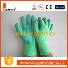 Guantes de látex verdes de nylon verde Dnl412