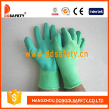 Green Nylon Green Latex Gloves Dnl412