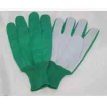 Cow Split Palm and T/C Back Straight Thumbgreen Knit Wrist Glove