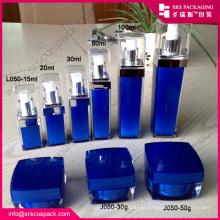 China Purple Square Shape cosméticos contêineres para atacado, frasco acrílico 30ml