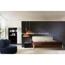 Cama de couro de madeira de estilo italiano de móveis Divany (A-B19)