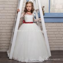 2017 новое прибытие европейских и американских девочка платье свадебное платье бисером кружевной длинный рукав девочка принцесса платье с красный пояс