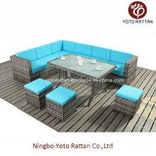 Steel Table Corner Sofa Set (903 blue)