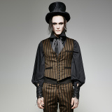 Y-718 New fashion Steampunk Coffee stripe mens leather waistcoat