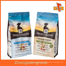 Customized plastic side gusset dog food bag for packaging with foil inside