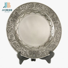 Supply Antique Silver 21cm Custom Logo Souvenir Plate in Metal Gift