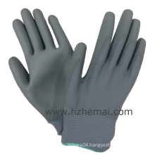 Grey PU Gloves Palm Coated Safety Work Glove China Manufacturer