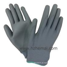 Luvas de PU cinzentas Palm Coated Safety Work Glove China Fabricante