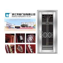 Porta de segurança de aço inoxidável de luxo para projeto de habitação