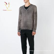 Camisola de lã de cashmere pescoço v homens