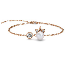 2021 New Cute Unicorn Thin Chain Crystal Bracelet with Pearl for Girlfriend Valentine Gift