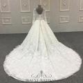Plus Size vestido de noiva 3D Floral Lace Appliqued manga comprida vestido de noiva muçulmano