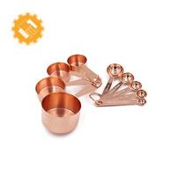 Tasses à mesurer en cuivre fabriquées en cuisine, ensemble de 9 pièces empilables