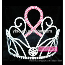 hot sale women pink ribbon hair accessories pageant tiara