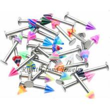 Mischfarbe Körperschmuck UV Acryl Spike Labret Piercing