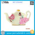Bule de cerâmica vintage formal rosa confete branco
