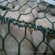 Malla de la tela del Gabion del PVC / acoplamiento de alambre hexagonal