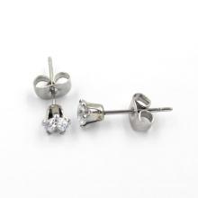 Sliver plateado CZ Diamante Stud Pendientes de joyería de moda