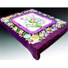 festival color flower print & carved cheap polyester blanket
