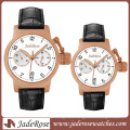 Japan Movement High Quality Stainless Steel Watch with Leather Strap
