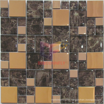 Mirror Face Metal Mix Wall Paper Backed Glass Mosaic (CFM845)