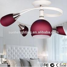 Decorative modern round glass led ceiling suspended lighting red led pendant light