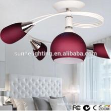 Декоративные современные круглые стекла привели потолок приостановлено освещение красный светодиодный подвесной светильник