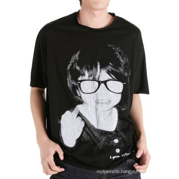 Relaxed Fit Black Fashion Printing Men Wholesale Summer Cotton T Shirt
