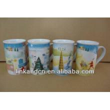 Haonai 11oz объемной прекрасной зимой полный деколь керамические кофейные кружки