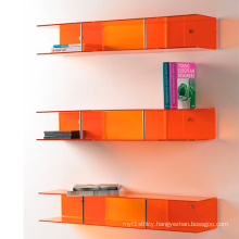 Colorful Acrylic Display Cases on Wall Mounted Display Shelf