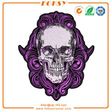 Purple Gothic Skull patch embroidered