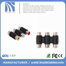 Adaptador 3RCA de 3 vías hembra a hembra F a F RCA adaptador de cable de acoplador AV