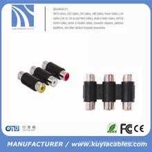 Adaptador 3RCA de 3 vias fêmea para fêmea F para F RCA Adaptador de cabo de acoplador AV