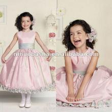 Sleeveless schillernden Taft Tee-Länge Blumenmädchen Kleid