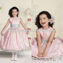 Sleeveless iridescent taffeta tea-length flower girl dress