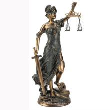 Escultura de metal estátua de bronze da senhora justiça