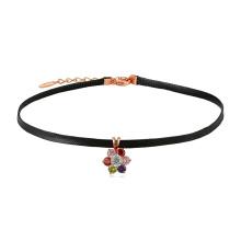 44369 мода ювелирные изделия красочные цветок кожи ожерелье с 18k золото для девочек