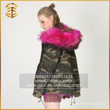 Fábrica de Abastecimento direto Faux Raccoon Jackets Army Real Fox Fur Parka