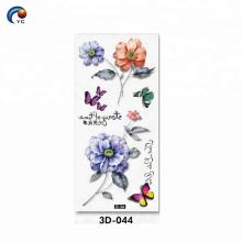 Diseños de flores 3D CMYK tatuaje corporal con personalizar