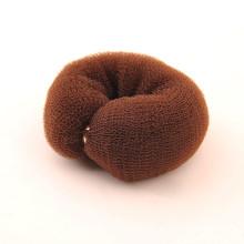 Donut aux cheveux marron avec boutons de pression (BUN-32)