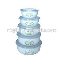 enamel ice bowl with shiny decals PE lids enamel mixing mug ice cream bowl